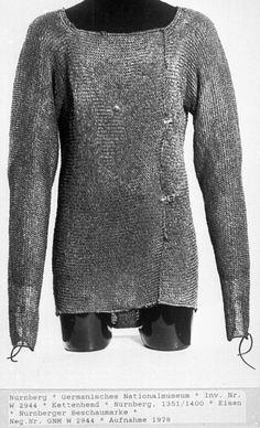 European (German)  riveted mail hauberk, 1351-1400, National museum, Nürnberg, Bayern, Germany. Battle Dress, Armadura Medieval, Military Camouflage, Old Images, Arm Armor, Medieval Armor, Fantasy Armor, Chain Mail, Men Street