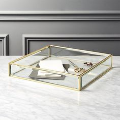 Brass and Glass Tray | CB2