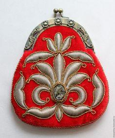 Купить Кошелёк - кошелек, сумочка, золотное шитьё, вышивка, вышивка золотом, бархат