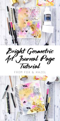 Bright Geometric Art Journaling Page Tutorial // Fox & Hazel