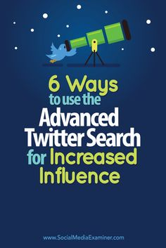 Do you want to be a recognized expert in your industry? Using Twitter's Advanced Search to monitor keywords and conversations can help you connect with influencers and uncover opportunities for thought leadership. In this article you'll discover six ways to use Twitter's Advanced Search to increase your influence in your industry. Via @Social Media Examiner.