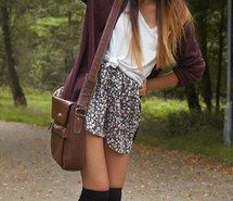 Inspiring image bag, cute, fall, fashion, outfit, purse, school, skirt, spring…