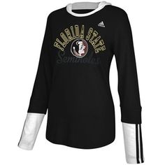 adidas Florida State Seminoles (FSU) Ladies Double Layer Long Sleeve Hooded T-Shirt - Black  #Fanatics
