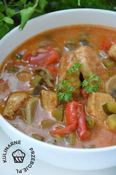 Strogonow drobiowy - KulinarnePrzeboje.pl Kielbasa, Calzone, Bento, Thai Red Curry, Food Porn, Food And Drink, Favorite Recipes, Cooking, Impreza