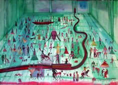 Antesala del Infierno, acrylic on canvas, 95 x 130 cm. year 2007 .Painting of the Serie Simbolism for sale by artist Diego Manuel