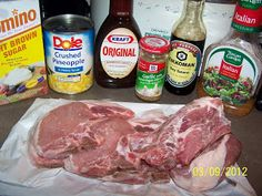 1/2 cup brown sugar 1 cup Italian dressing 4 Tablespoons soy sauce 2 Tablespoons minced garlic 1/2 cup BBQ sauce 1- 20 ounce can crushed pin...