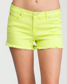 9. Shorts, Jeans Or A Skirt For A Daytime Outing. bebe | Destructed Neon Cutoff Short. #bebe #wishesanddreams