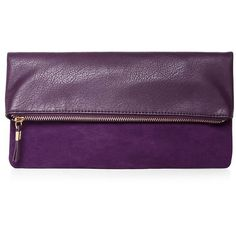 Purple Fold Over Clutch ($15) ❤ liked on Polyvore featuring bags, handbags, clutches, purple, fold over handbag, purple clutches, fold over purse, chain strap purse and zipper purse