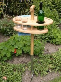 Mini-Gartenbar Mini-Gartenbar aus Esche Multiplex mit Grabegabel aus Edelstahl