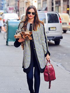 Love the coat and the fact that her yorkie is spazzing out...like they do...