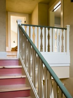 Staircase Spindles, Painted Staircases, Wood Railing, Stair Handrail, Painted Stairs, Banisters, Staircase Design, Basement Staircase, Spiral Staircases