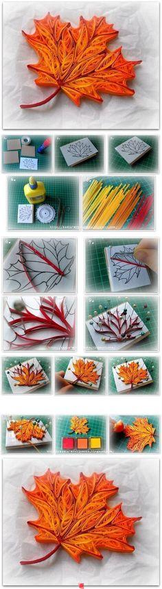 quilled autumn leaf