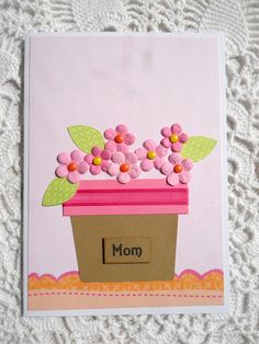 Mother's Day Greeting Card with Pink Flowers by EllieMarieDesigns, $4.00
