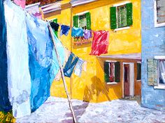 Burano Wash Day, oil on linen, 12 x 16 inches. The subject is from the island of Burano, near Venice, Italy.