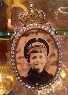 Tsarevich Alexei Romanov in a diamond frame.