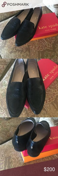 Kate Spade black leather beautiful shoes size 9 Flawless gorgeous Kate spade black leather shoes size 9 worn twice. These shoes can be worn with jeans or dress up. Hate to part but I need the money no trades please. The last picture shows receipt $250.00. Thank you kate spade Shoes Moccasins