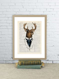 Happy dandy deer. Vintage dictionary paper illustration art print. Animal wall art 8X10.5 in. Victorian. Upcycled. Cool Dorm Room Art
