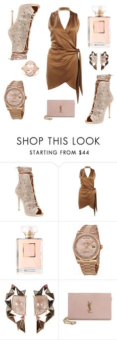 """""""Choker Dress"""" by candace-rose-i ❤ liked on Polyvore featuring Giuseppe Zanotti, Boohoo, Chanel, Rolex, Nak Armstrong, Yves Saint Laurent and Effy Jewelry"""