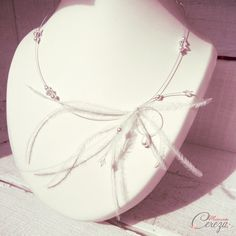 Collier de mariée plumes perles cristal swarovski rétro romantique 'Maxine' - Mademoiselle Cereza bijoux accessoires mariage cérémonie #mariage #madeinfrance #plumes