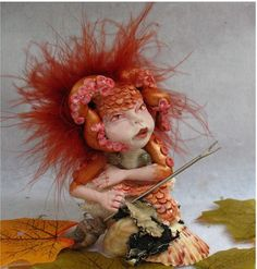 Octopus Sea Nymph OOAk Fairy in Shell Sculpture Art Dolls Fantasy Fairies