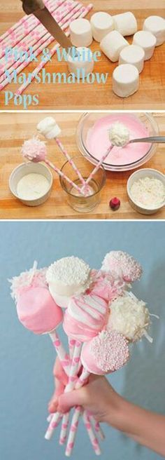 Pink and White Marshmallow Pops baby shower baby shower ideas baby girl baby shower food baby shower party favors baby shower party themes baby shower decorations Marshmallow Pops, White Marshmallows, Marshmellow Ideas, Marshmallow Flowers, Shower Party, Baby Shower Parties, Baby Showers, Baby Shower Treats, Baby Girl Shower Food