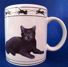 """Cat Lovers Limited """"Collectable Cats"""" Coffee Mug Cup featuring Turkish Van Cat and a Chartreux Cat, holds 8 oz  $11.99 #Cat Mug at JustLuvTreasures.com"""