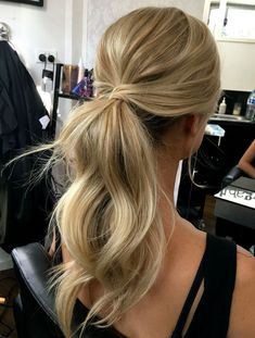 hairstyles, bridal hair style, messy ponytail hairstyles all down hairst… - All For Simple Hair Trendy Hairstyles, Straight Hairstyles, Wedding Hairstyles, Bridesmaids Hairstyles, Bridesmaid Ponytail, Bridesmaid Dresses, Everyday Hairstyles, Junior Bridesmaids, Ball Hairstyles