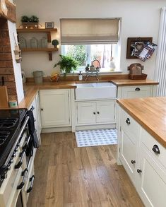 """{AD} My most frequently asked question has be """"What do you treat your wooden worktops with?"""" & """"Are wooden worktops hard to maintain (especially around the sink area)? Home Decor Kitchen, Kitchen Interior, New Kitchen, Cottage Kitchens, Home Kitchens, Small Cottage Kitchen, Wooden Kitchen, Cream And Wood Kitchen, Cream Country Kitchen"""