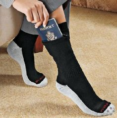 Zip It Passport Socks With these you can keep your passport and cash securely tucked in this zippered sock.