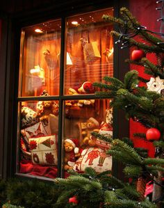 Christmas Teddy Bear window