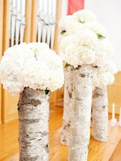 Birch wrapped vases.  Lovely