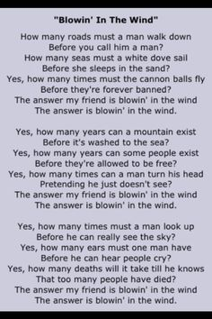 "Bob Dylan ""Blowin' in the Wind"""