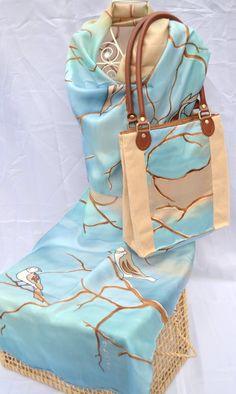 Matching set - Sunset birds (Blue/Cream) - Talento Silk  Paper Art