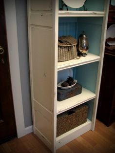 How to: Bi-fold doors into bookcase {Blue Roof Cabin}