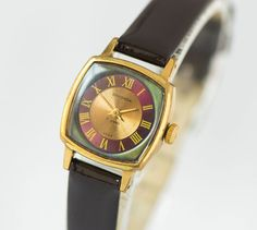 Square women's watch gold plated wristwatch Sekonda by SovietEra