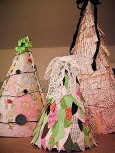 Home-made Christmas trees from recycled stuff found around the house!  Would you buy one?