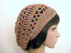 Lacy Crochet Slouch Beanie-Rainbow