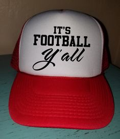 fa04afb0395f84 It's Football Y'all Football Trucker Hat Snapback Hat Custom Trucker Hat  Gameday Trucker Hat Sports Mom Football Mom Hat Funny Trucker Hat