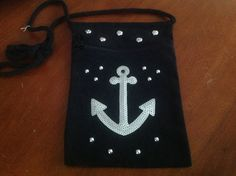 Black anchor small  canvas purse by Qoot2Boot on Etsy