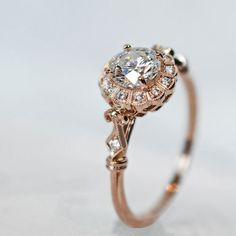 Vintage Engagement Rings This is so pretty it hurts. Rose gold and diamond. The prettiness of this ring makes it a show stopping piece.This is so pretty it hurts. Rose gold and diamond. The prettiness of this ring makes it a show stopping piece. Wedding Rings Vintage, Vintage Engagement Rings, Wedding Engagement, Wedding Jewelry, Vintage Rose Gold Rings, Solitaire Engagement, Vintage Silver, Unique Wedding Rings, Intricate Engagement Ring