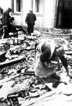 Pictured here are Jews clearing the rubble from a synagogue in Thalfang, Germany, on the day following the riots of Kristallnacht, November 10, 1938. The synagogue in Thalfang was erected in 1822 and was seriously damaged during Kristallnacht. Yad Vashem Photo Archives 5334/2