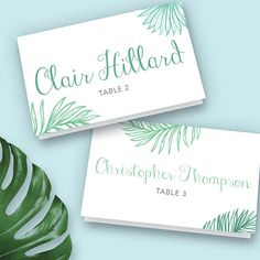3.5x2 Tropical Place Card Ideas, Table Place Settings, Destination Wedding Decor, Beach Decor Ideas, Tropical Wedding, Palm Leaves