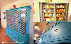 I would love a piece of furniture like this to use for my crafting supply storage! No Pantry Solutions, Craft Storage Solutions, Apple Home, Dresser Desk, Clutter Control, Kitchen Redo, Diy Organization, Painted Furniture, Repurposed