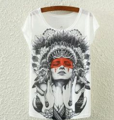 Indian Lady Punk Pinup Tattoo Gypsy Boho Goth Shirt Chief Steady Bunny Club Emo