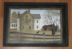 Autumn Afternoon by artist Billy Jacobs Primitive Kunst, Primitive Wall Decor, Country Primitive, Art Boards, Framed Art, Fence, Barn, Crows, Artist