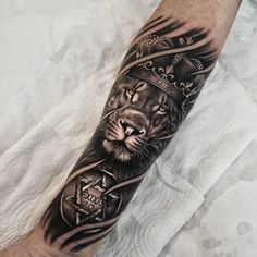 Lion Tattoo With Crown, Lion Hand Tattoo, Lion Forearm Tattoos, Lion Tattoo Sleeves, Bull Tattoos, Mens Lion Tattoo, Forarm Tattoos, Leo Tattoos, Calf Tattoo