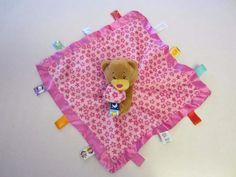 Taggies Lovey Pink Bear Floral Security Blanket  #Taggies