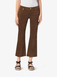 MICHAEL MICHAEL KORS Cropped Flared Suede Pants. #michaelmichaelkors #cloth #
