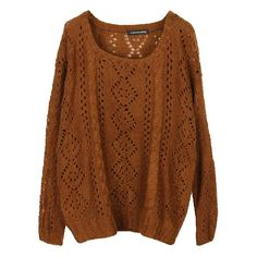 Open Knit Marled Sweater (255 MXN) ❤ liked on Polyvore featuring tops, sweaters, shirts, jumpers, cable sweater, open stitch sweater, brown shirts, cutout sweaters and open-knit sweater