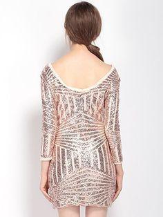 Women Sexy Backless Asymmetric Stripe Sequined Three Quarter Sleeve O Neck Mini Dress